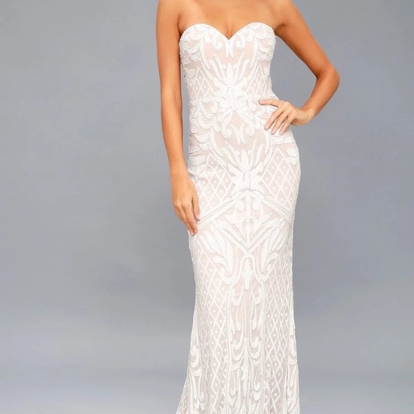 fa5df5a96e9bf Lulu's Dresses | Lulus Olivia White Sequins Strapless Dress Xs Nwt ...